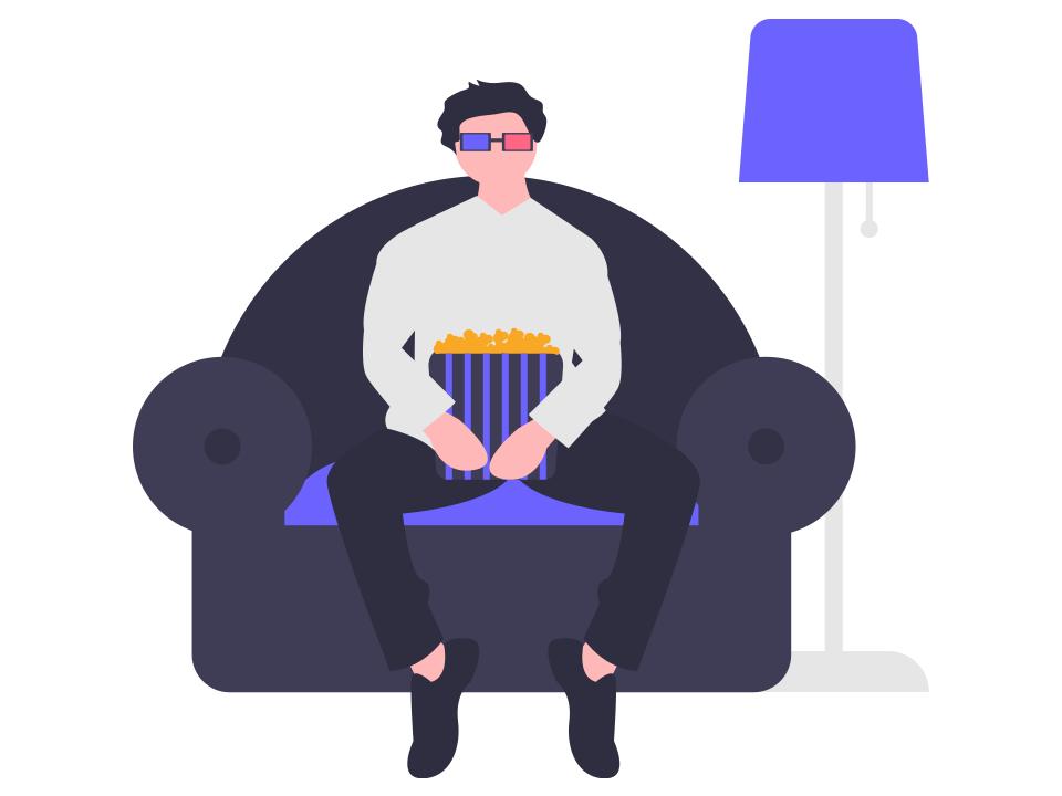 リモートワーク中に椅子に座る人