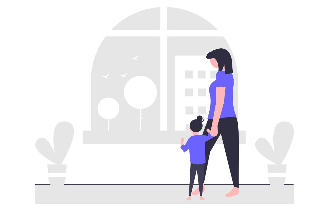 リモートワーク中と子育てを両立させる親